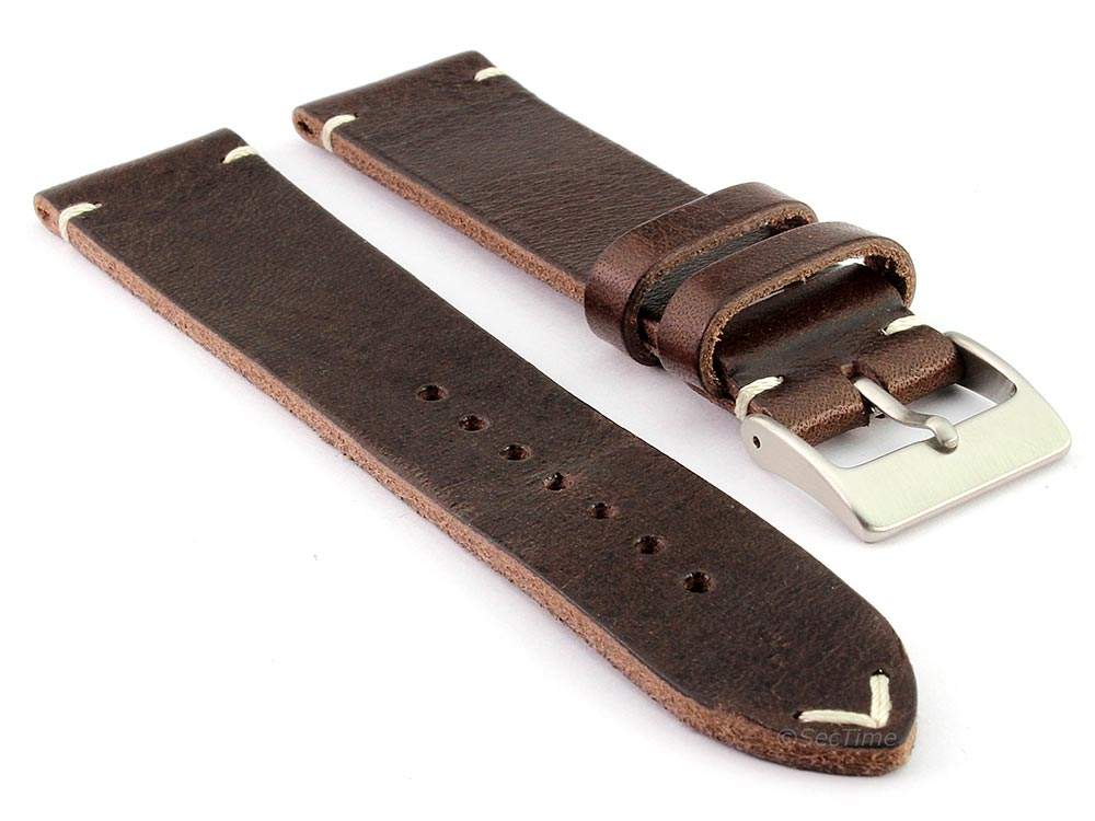 Genuine Leather Watch Strap Band Mirage Dark Brown 22mm