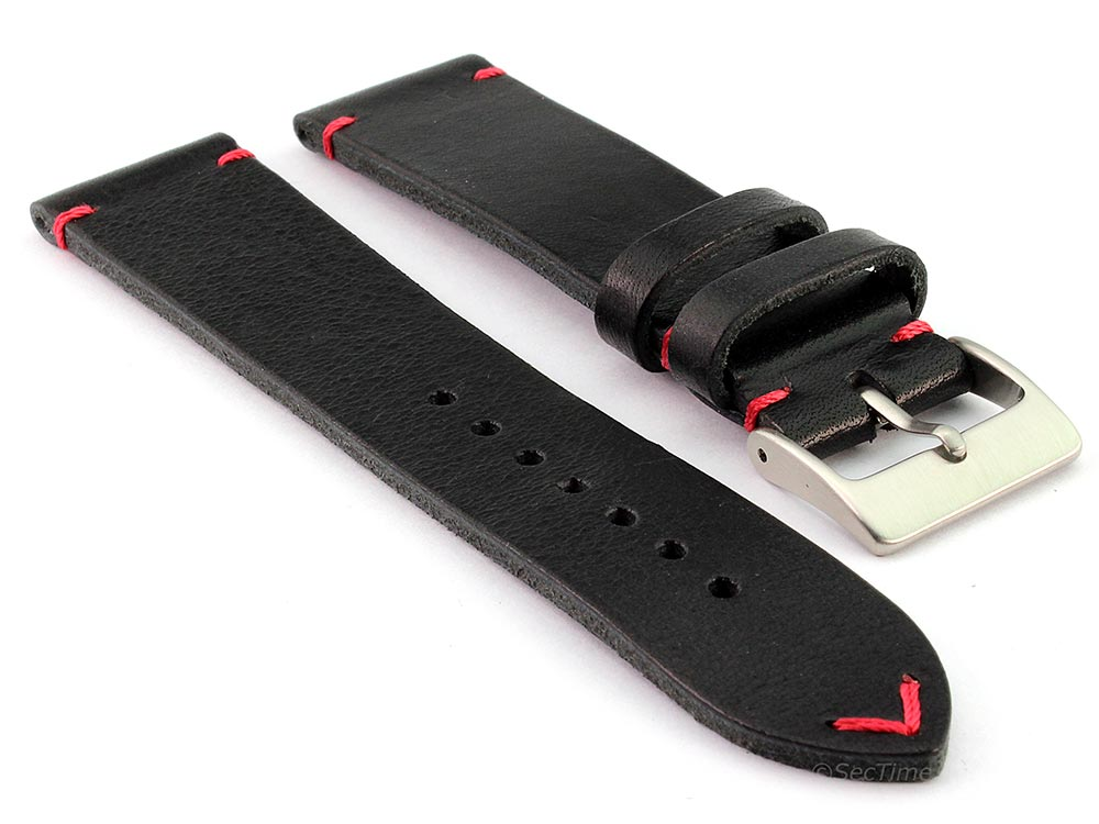 Genuine Leather Watch Strap Band Mirage Black/Red 20mm
