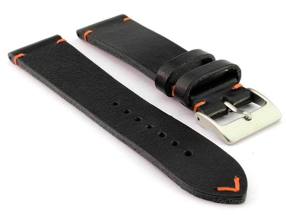 Genuine Leather Watch Strap Band Mirage Black/Orange 24mm