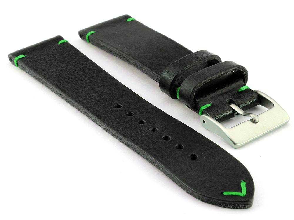Genuine Leather Watch Strap Band Mirage Black/Green 19mm