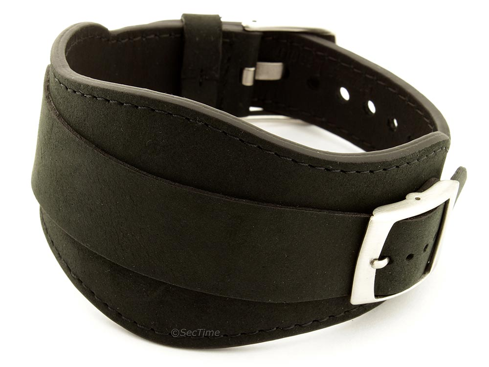 Genuine Leather One-piece Cuff Pad Watch Strap Band Moscow Black 22mm