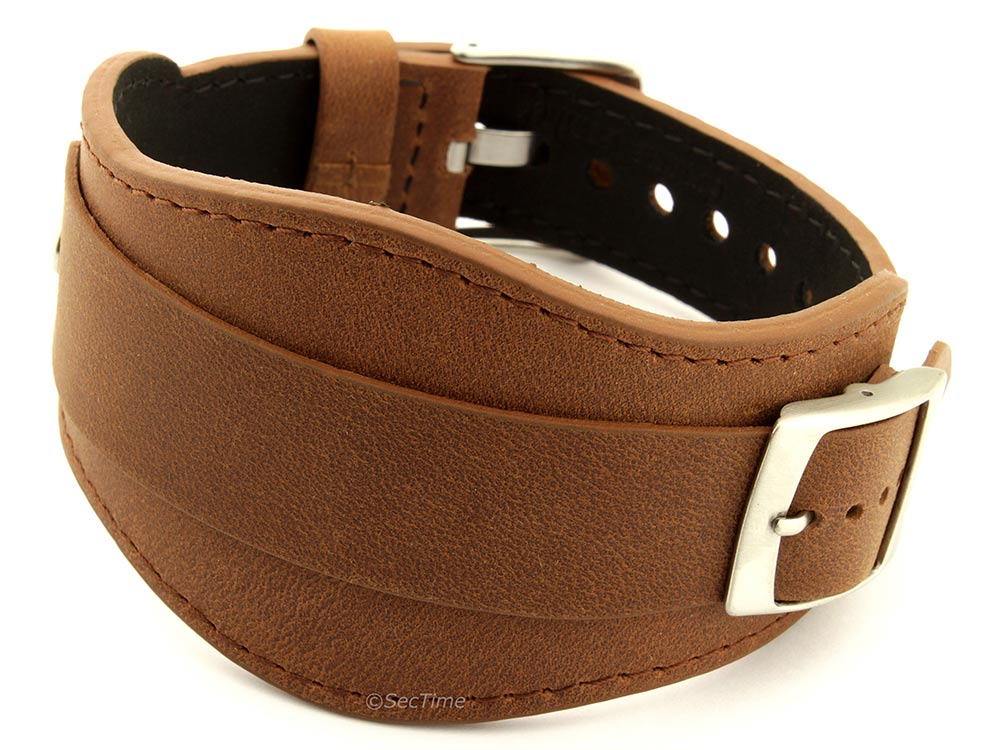 Genuine Leather One-piece Cuff Pad Watch Strap Band Moscow Brown 01