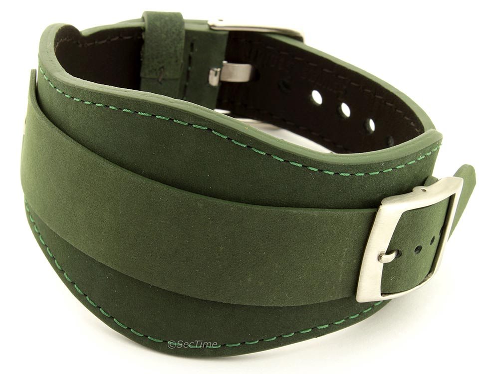 Genuine Leather One-piece Cuff Pad Watch Strap Band Moscow Green 22mm