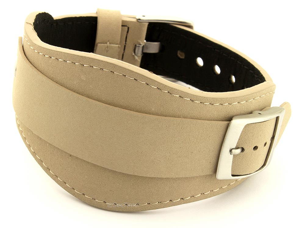 Genuine Leather One-piece Cuff Pad Watch Strap Band Moscow Beige 20mm