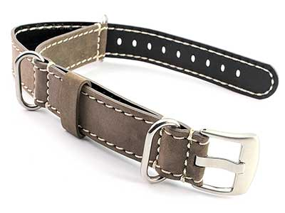 Suede Genuine Leather Watch Strap Nato Cayman Silver-Coloured Buckle Coyote Brown 01