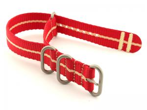Nato Watch Strap CS Red/Cream 22mm