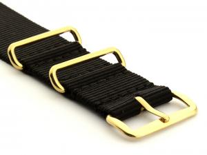 Nato G10 Nylon Watch Strap Gold Buckle Black 18mm