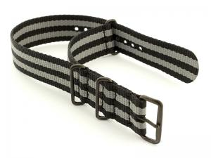 Bond-Style Nato G10 Nylon Watch Strap PVD Buckle Black/Grey 24mm