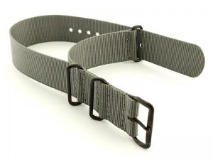 Nato G10 Nylon Watch Strap PVD Buckle Ash Grey 24mm