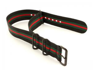 Nato G10 Nylon Watch Strap PVD Buckle Black/Green/Red (5) 18mm