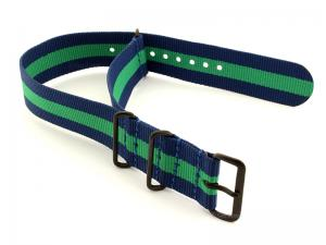 Nato G10 Nylon Watch Strap PVD Buckle Blue/Green (3) 01