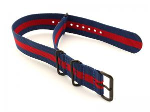 Nato G10 Nylon Watch Strap PVD Buckle Blue/Red (3) 22mm