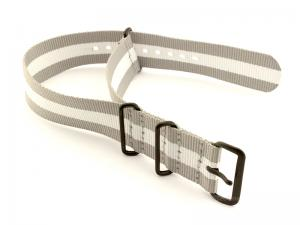 Nato G10 Nylon Watch Strap PVD Buckle Grey/White (3) 20mm
