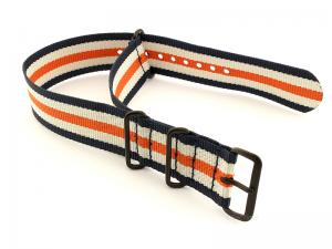 Nato G10 Nylon Watch Strap PVD Buckle N.Blue/White/Orange (5) 20mm