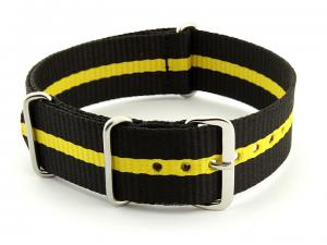 Nato Watch Strap G10 Military Nylon Divers Black/Yellow (3) 22mm