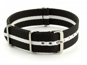 Nato Watch Strap G10 Military Nylon Divers Black/White (3) 22mm