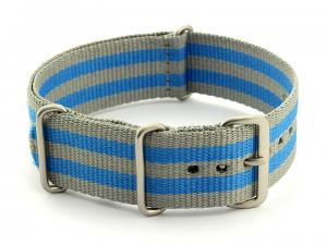 Nato Watch Strap G10 Military Nylon Divers Grey/Blue (5B) 20mm
