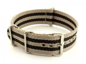 Nato Watch Strap G10 Military Nylon Divers Beige/Black (5) 18mm
