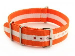 Nato Watch Strap G10 Military Nylon Divers Orange/White (3) 18mm