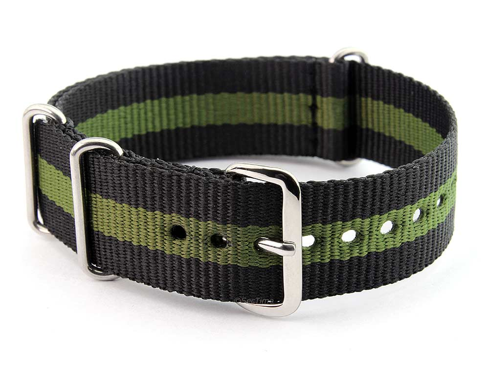 Nato Watch Strap G10 Military Nylon Divers Black/Green (3) 24mm