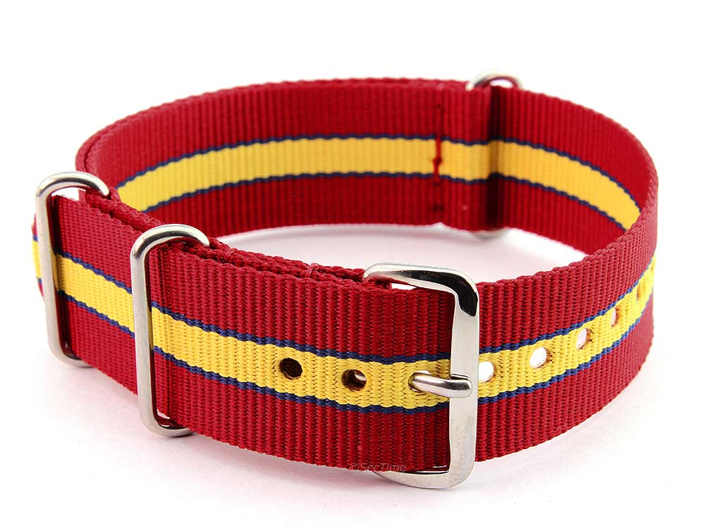 Nato Watch Strap G10 Military Nylon Divers Red/Blue/Yellow (5) 24mm