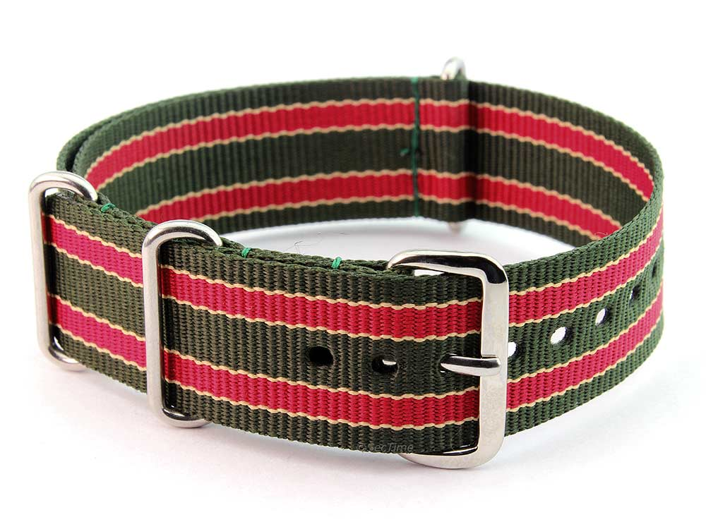 Nato Watch Strap G10 Military Nylon Divers Green/Beige/Maroon (9) 18mm