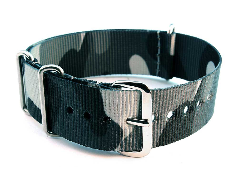 Nato Watch Strap G10 Military Nylon Divers Camouflage Grey 24mm
