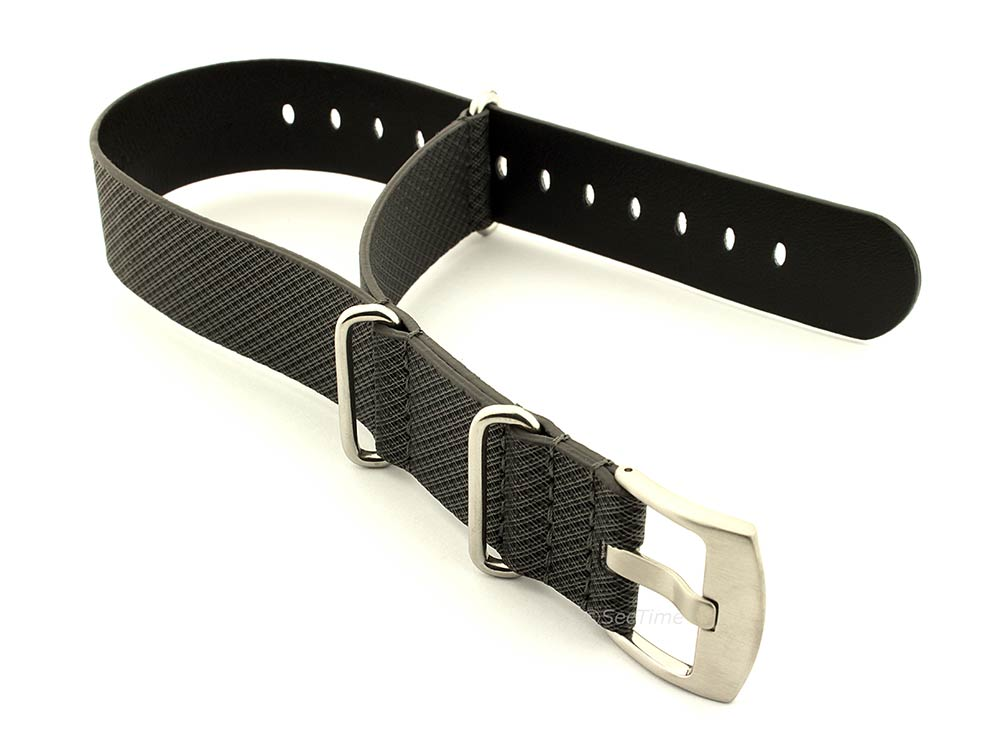 Synthetic Waterproof Nato Watch Strap Hydrophobized Leather Lining Black 01