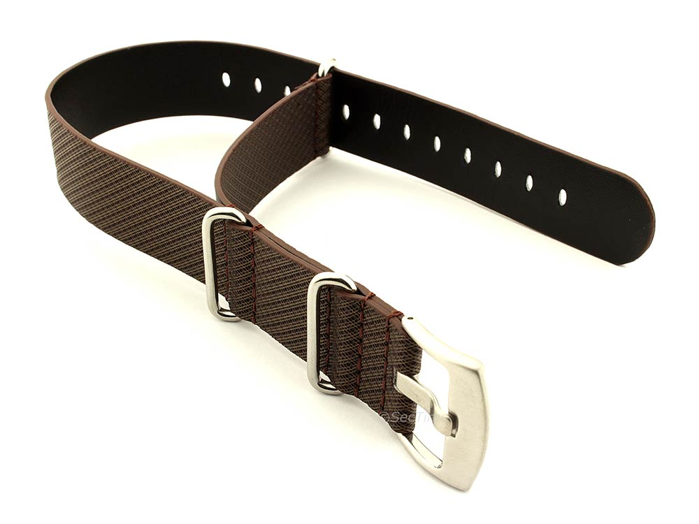 Synthetic Waterproof Nato Watch Strap Hydrophobized Leather Lining Brown 01