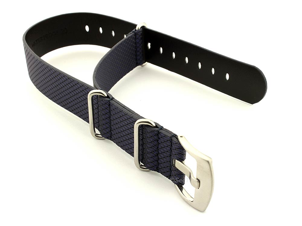 Synthetic Waterproof Nato Watch Strap Hydrophobized Leather Lining Blue 24mm