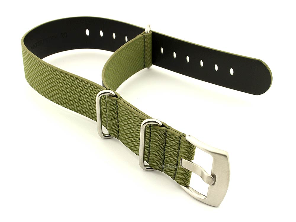 Synthetic Waterproof Nato Watch Strap Hydrophobized Leather Lining Green 22mm