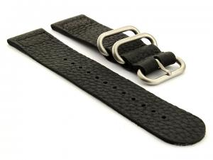 Leather Two-piece Nato Vintage Watch Strap Black 22mm