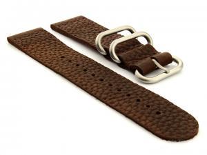 Leather Two-piece Nato Vintage Watch Strap Dark Brown 24mm