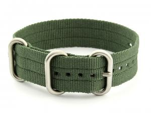 One-Piece Nato Watch Strap Military G10 Nylon Waterproof Green 18mm