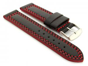Leather Watch Strap Orion Black / Red 28mm