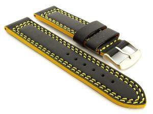 Leather Watch Strap Orion Black / Yellow 18mm