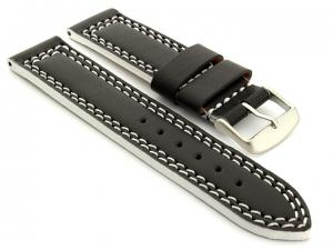 Leather Watch Strap Orion Black / White 24mm