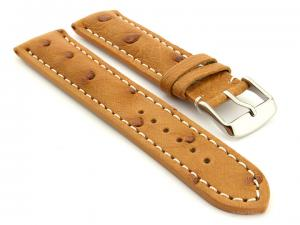 Ostrich Leather Watch Strap Brown Emu 02