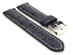 Ostrich Leather Watch Strap EMU Navy Blue 20mm