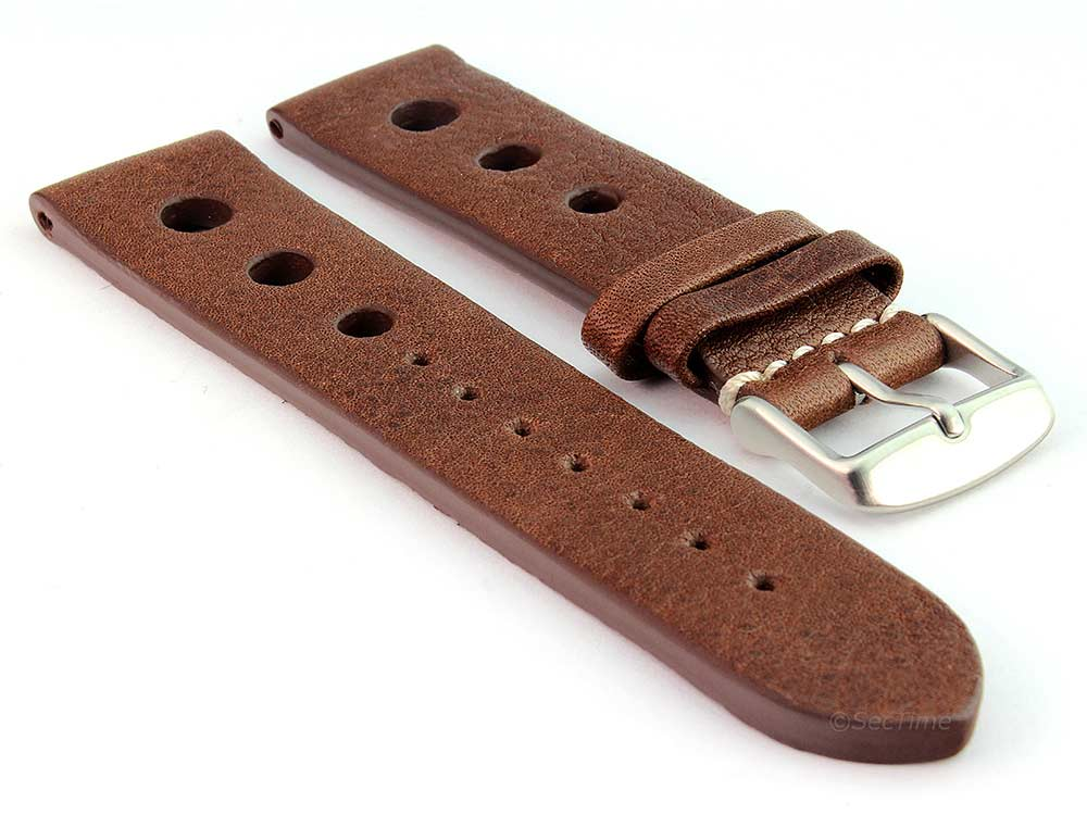 Genuine Leather Watch Strap Band Prague Rally Racing Dark Brown 18mm