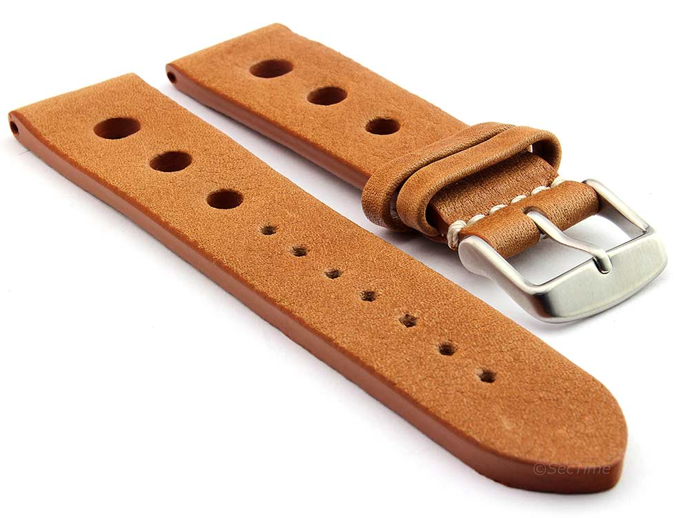 Genuine Leather Watch Strap Band Prague Rally Brown 20mm