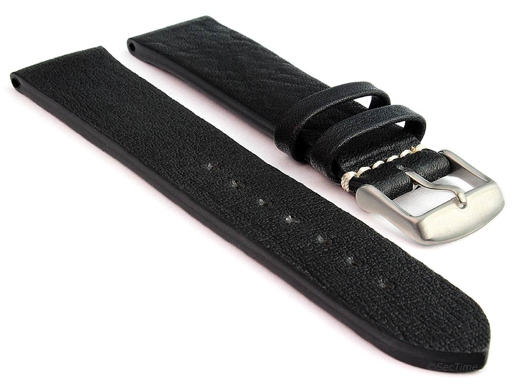 Genuine Leather Watch Strap Band Prague Black 22mm