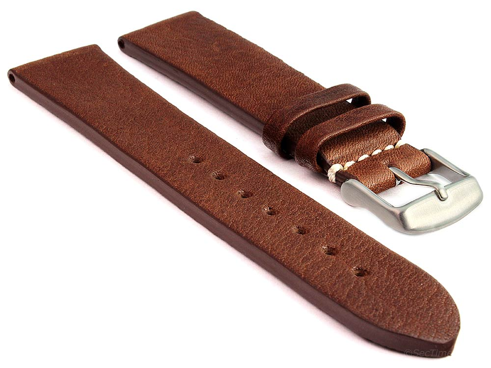 Genuine Leather Watch Strap Band Prague Dark Brown 20mm