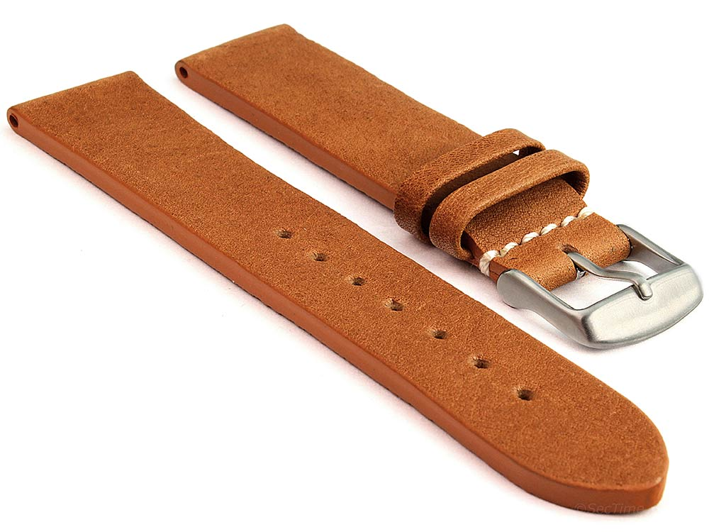 Genuine Leather Watch Strap Band Prague Brown 18mm