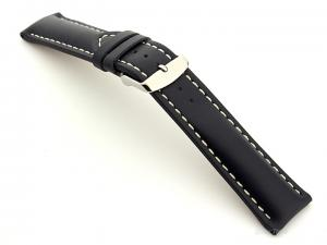 Padded Genuine Leather Watch Strap SAHARA Blue/White 18mm