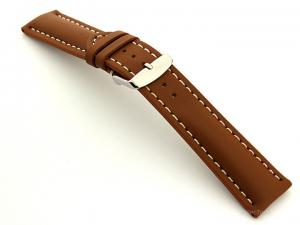 Padded Watch Strap Leather Brown with White Stitching Sahara 02