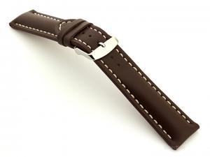 Padded Genuine Leather Watch Strap SAHARA Dark Brown/White 24mm