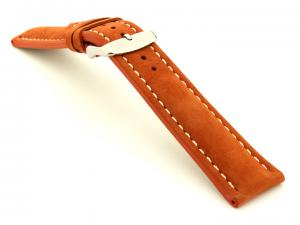 Padded Genuine Leather Watch Strap SAHARA Orange/White 24mm