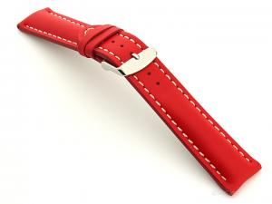 Padded Genuine Leather Watch Strap SAHARA Red/White 20mm