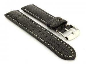Shark Leather Watch Strap VIP Black 20mm